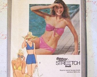 Simplicity 9391 Two-Piece Bathing Suit and Bikinis 1980s Vintage Pattern Misses Size 8, 10, 12 Uncut