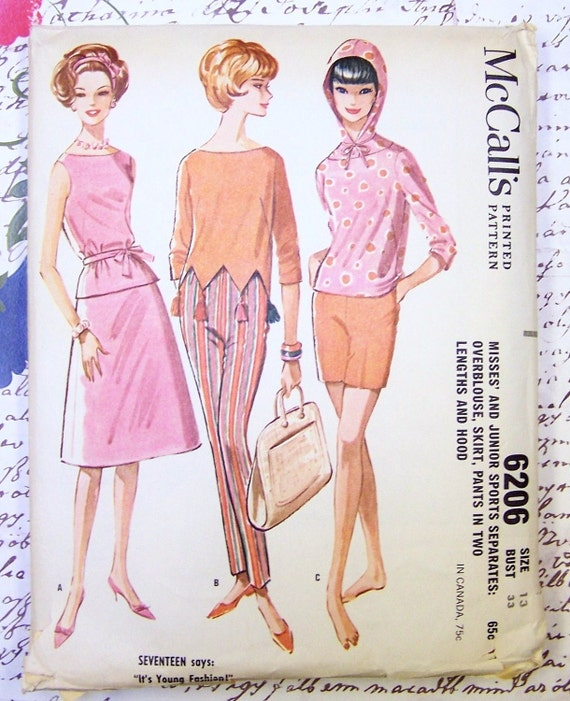 McCalls 6206 Jr Sports Separates Vintage 60s Sewing Pattern Size 13 Ultra Mod