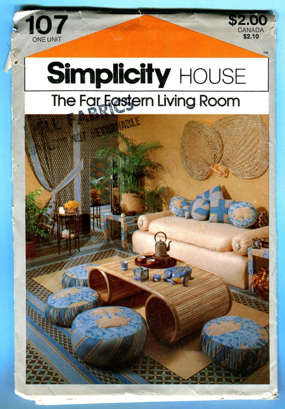 Simplicity House 107 Far Eastern Living Room Vintage Sewing Pattern Cards Pillows Ottoman Sofa 1970s