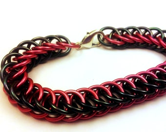 Pink and Hematite Anodized Aluminum Half Persian 4in1 Bracelet