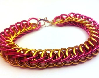 Pink and Gold Anodized Aluminum Half Persian 4in1 Bracelet
