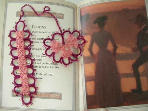 Destiny  a pink lace bookmark                                 Red purple pink tatted tassle heart bookmark handmade lace tatting