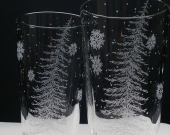 2 Pint Glasses 'Fir Tree and Floating Flakes' Hand Engraved Home Decor Holiday Entertaining Winter Wedding Party