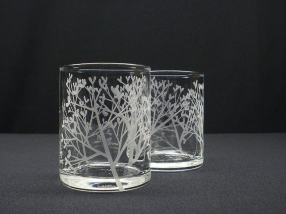 FREE SHIPPING . 'Tree Of Love' . Two Hand Engraved Glass Candle Holders . Featured On The Front Page