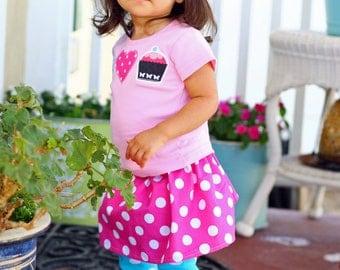 BIG Girls Pink Polka Dotted SKIRT 6 to 10