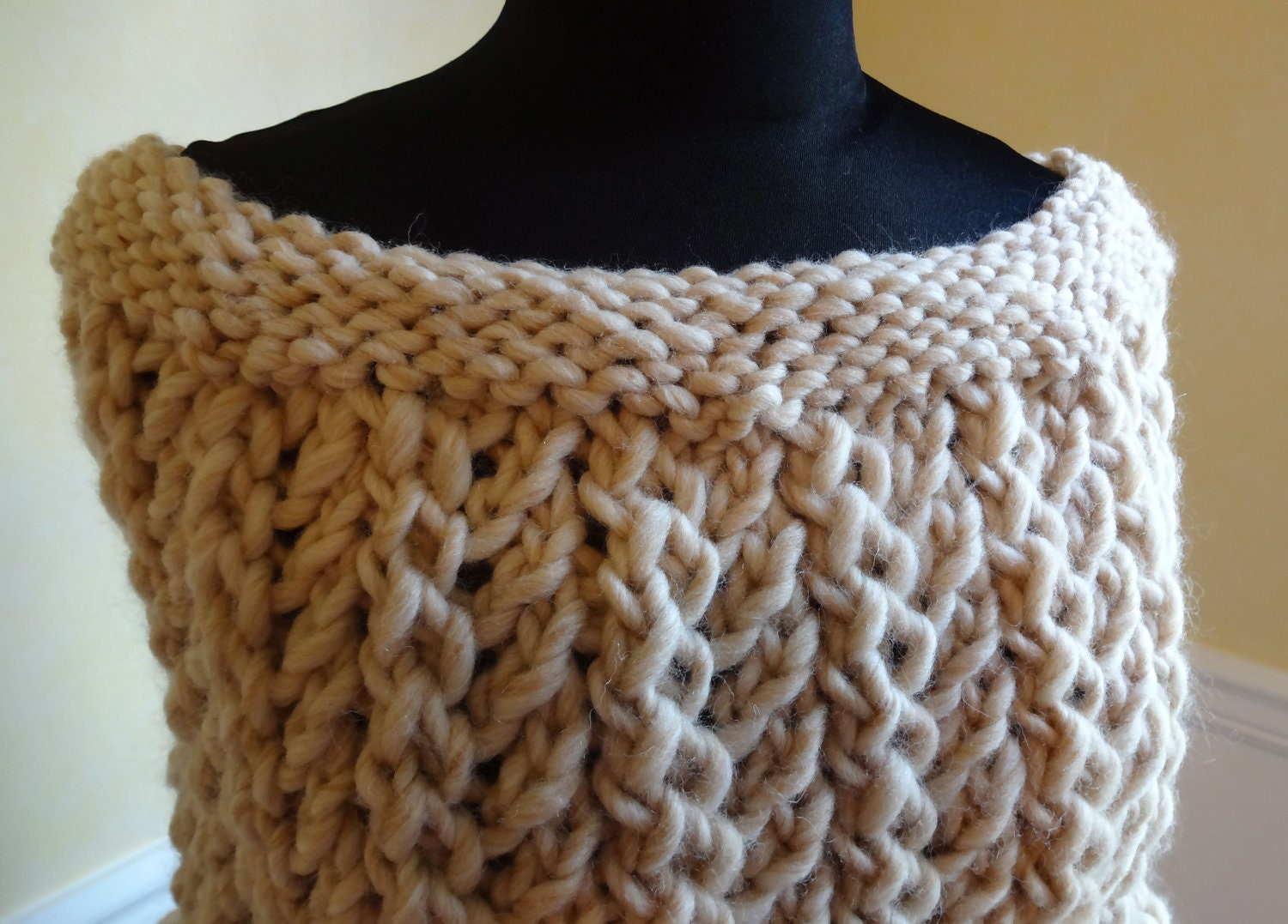 Oatmeal Shoulder Wrap Hand Knit lace pattern Made in the