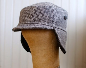 Woodsman XS: Herringbone hat with ear flaps in gray wool, womens or kids earflap cap, flap hat made from recycled materials, upcycled fabric