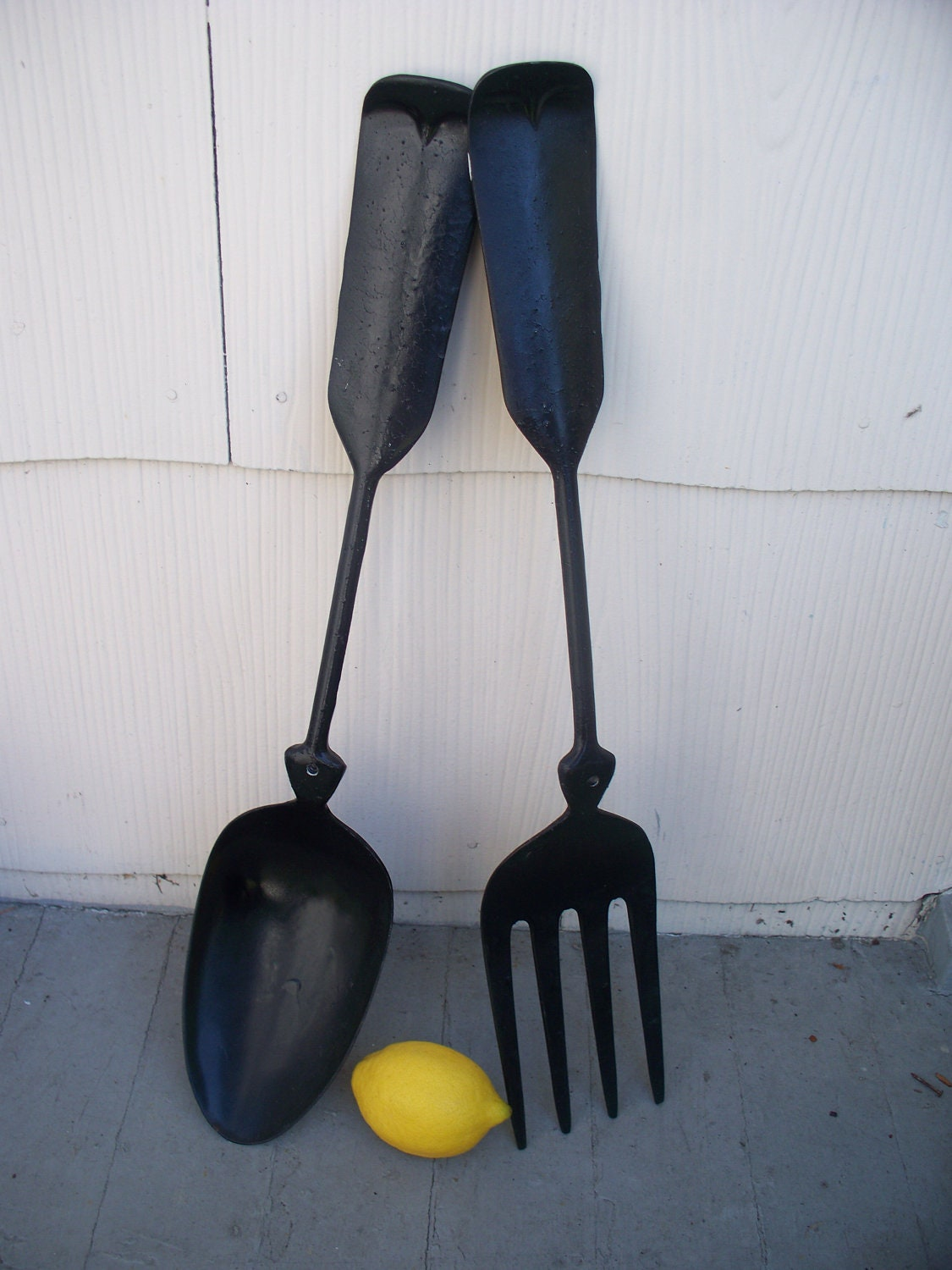 vintage large metal spoon and fork wall decor by luciawren. Black Bedroom Furniture Sets. Home Design Ideas