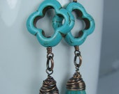 Turquoise Magnesite Flower and Drop Earrings