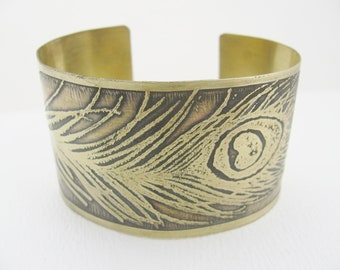 Peacock Feather Etched Cuff Bracelet-  Your Choice of Copper or Brass