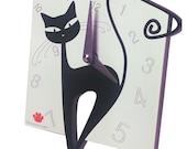 Table clock black cat