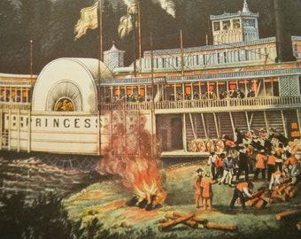 Princess Riverboat Wooding Up OnTthe Mississippi River 1952 Currier & Ives Print 1800s Book Reprint 11 x 15 To Frame