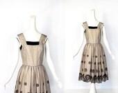 1950s Party Dress / Black Thistle Dress / 50s Tulle Dress / Vintage 1950s Dress / XS