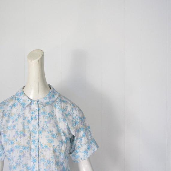 Vintage Floral Blouse / Peter Pan Collar / Blouse 1960s / 60s Top / Summer Fashion / M L
