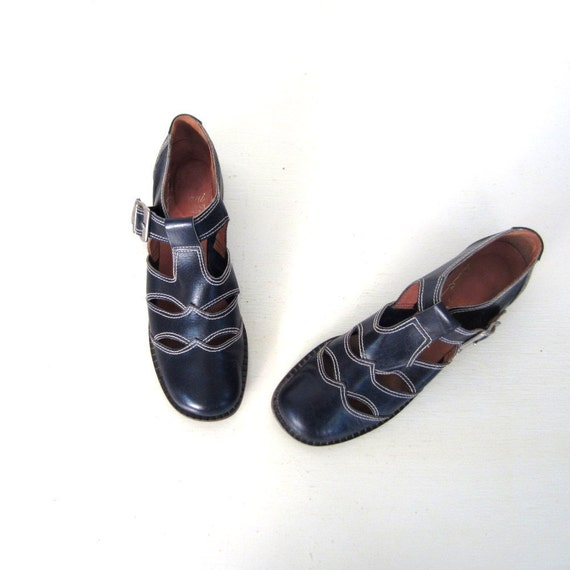 60s Mod Shoes / Buckle Shoes / Italian Leather Shoes / 8 1/2