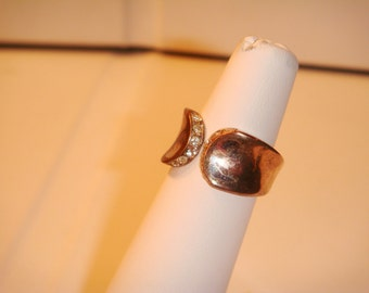 Antique Vintage gold plated sterling silver ring with faux diamonds