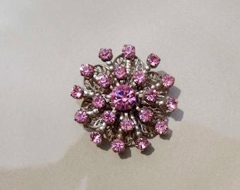 Vintage Pink rhinestone brooch Tourmaline gold