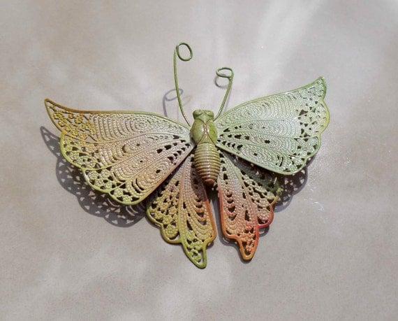 Vintage Green Orange butterfly pin brooch