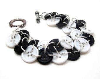 Button Bracelet - Black and White by randomcreative on Etsy