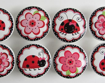 Cute Ladybug Drawer Knobs, Red and Black Ladybug Knobs, Girl's Flower Knobs- Wood Knobs- 1 1/2 Inches - Made-to-Order