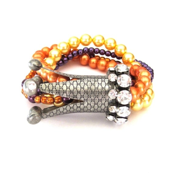 RESERVED for Susan - Rhinestone Crown and Glass Pearl Multi Strand Stretch Bracelet orange, yellow, purple, and antique silver