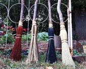 Witch Besom in your choice of Natural, Black, Rust or Mixed Broomcorn