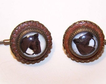 Pair of C.1900 Studs/Cuff Links - Hand Painted Horse Head Fronts