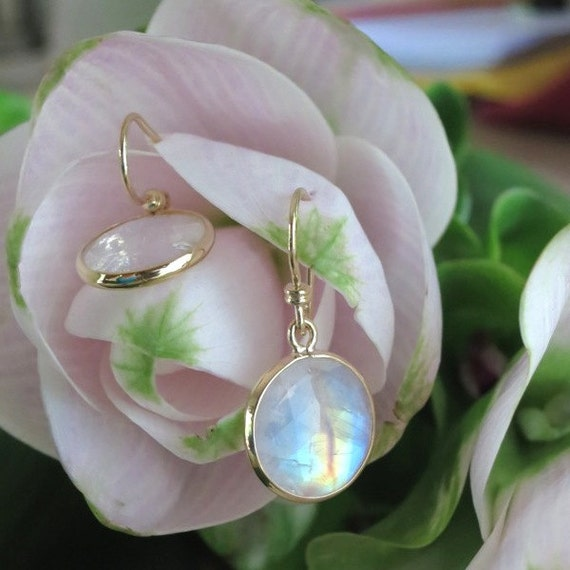 Rainbow Moonstone and Yellow Gold Spectacle-Set Earrings, Ready to Ship