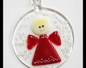 Glassworks Northwest - Angel in a Snowstorm - Fused Glass Ornament