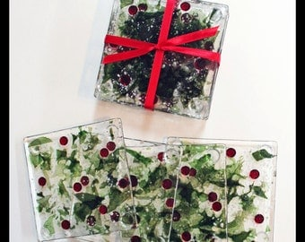 Glassworks Northwest - Holly Berry - Set of 4 Fused Glass Coasters