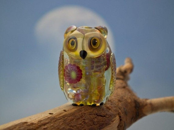 RESERVED /////////// just for Kim ///////////// RESERVED... Agatha..... lampwork silver glass owl bead... sra