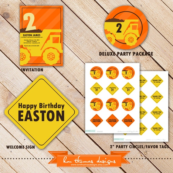 DELUXE Construction Zone Party Package...Personalized Invitation and Party Printables...by KM Thomas Designs #103