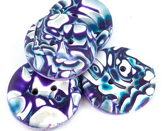 Large Buttons Purple, Blue and White Mokume Gane Buttons, Polymer Clay No.135