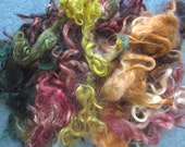 Handdyed Kid and Young Adult Mohair Lock rust, orange, pink, blue, gold, plum, 2735
