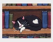 ACEO Print, Book Love - Cat Art Illustration by Lisa Marie Robinson - Open Edition
