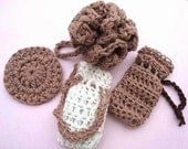 CROCHET PATTERN. 3 Piece Bath Set num 45, Bath Puff, Scrubbie, and Soap Saver Bag, bath and spa