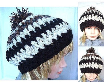CROCHET Hat - Slouchy Hat, Crochet Pattern, 425 Chunky Style hat,  beret, tam age 12 to adult,