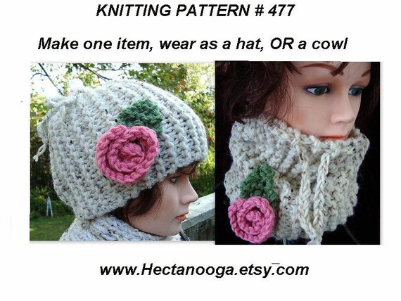 KNITTING PATTERN - Hat, cowl, accessories, women, children, clothing, num. 477