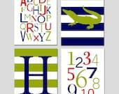 Boy Nursery Decor Alligator Nursery Art - Set of Four 11x14 Prints - Alphabet, Numbers, Alligator, Monogram Initial - CHOOSE YOUR COLORS