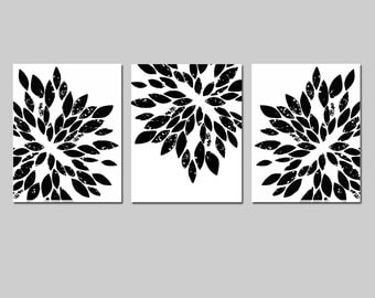 Modern Abstract Painterly Floral - Set of Three 8x10 Art Prints - CHOOSE YOUR COLORS - Shown in Black, White, Gray, Yellow, Gray, and More