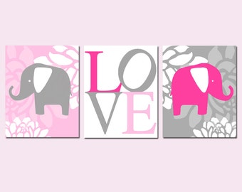 Elephant Love Nursery Art Baby Girl Floral Elephant Trio - Set of Three 11x14 Prints - CHOOSE YOUR COLORS - Hot Pink, Gray, Light Pink