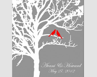 Lovebird Wedding Tree - 11x14 Custom Print - Anniversary, Wedding Gift, Newlyweds - Family Established Tree - CHOOSE YOUR COLORS