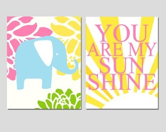 Sunshine Elephant - Set of Two 11x14 Prints - You Are My Sunshine and Floral Elephant - Kids Wall Art - CHOOSE YOUR COLORS