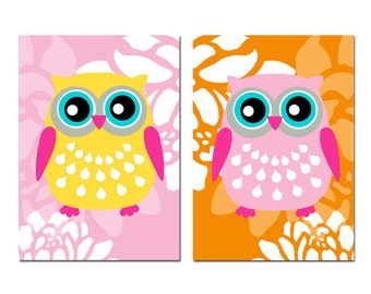 Floral Owl Duo - Set of Two 5x7 Prints - Modern Nursery Decor - CHOOSE YOUR COLORS - Shown in Yellow, PInk, Aqua, Hot PInk, Orange, and More