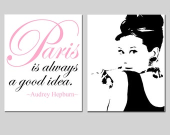 Set of Two 11x14 Prints - Audrey In Paris Collection - Audrey Hepburn Silhouette, Paris Is Always A Good Idea Quote - Choose Your Colors
