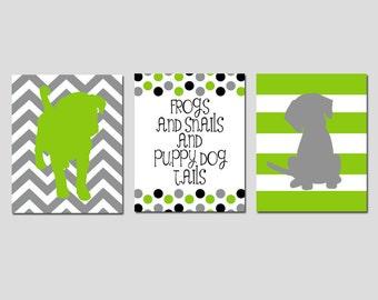 Baby Boy Nursery Art Trio - Chevron Stripe Puppy Dogs, Polka Dot Quote - Frogs Snails Puppy Dog Tails - Set of Three 11x14 Prints