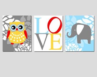 Nursery Wall Art Trio -  Set of Three 8x10 Prints - Floral Owl, Love - Floral Elephant - Kids Wall Art - Nursery Decor - CHOOSE YOUR COLORS