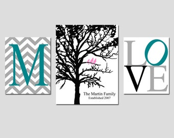 Family Tree Decor Set of 3 Prints - Chevron Monogram Initial, Family Established Birds in a Tree, Love - GREAT WEDDING GIFT - 8x10 and 11x14