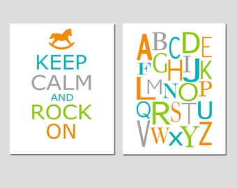 Set of Two 11x14 Prints - Keep Calm Rock On and Modern Alphabet - Nursery Wall Art - CHOOSE YOUR COLORS - Shown in Orange, Aqua, and More