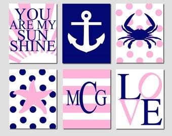 Nautical Nursery - Kids Wall Art - Set of Six 8x10 Prints - Crab, Anchor, Striped Monogram, Polka Dot Starfish, You Are My Sunshine, Love